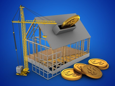 3d illustration of house frame over blue background with coins and construction site