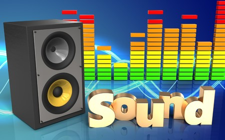 3d illustration of sound system over sound background with sound sign Stock Photo