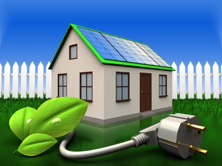 3d illustration of home with solar panel with eco power cable over grass and fence background