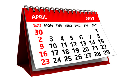 3d illustration of april 2017 calendar isolated over white background