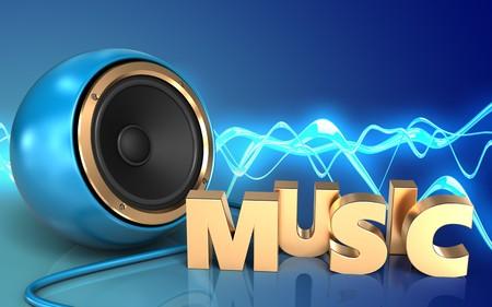 3d illustration of blue sound speaker over sound wave blue background with music sign Stock Photo