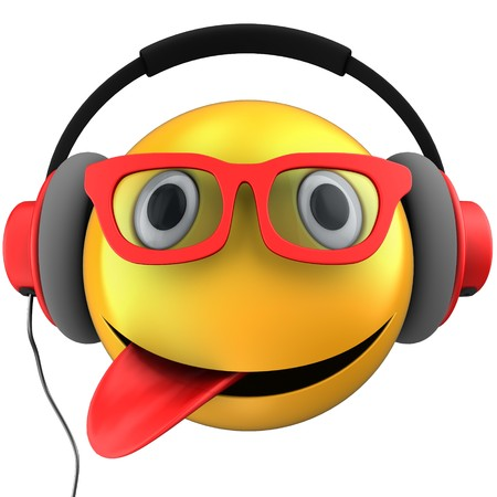 3d illustration of yellow emoticon smile with red headphones over white background 版權商用圖片