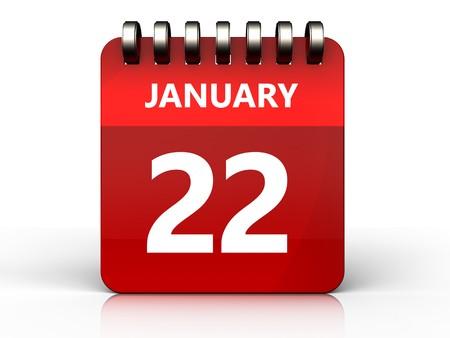 january 1st: 3d illustration of january 22 calendar over white background
