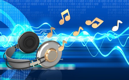 3d illustration of headphones over cyber background with notes