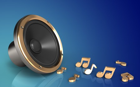 3d illustration of loud speaker over blue gradient background with notes Stock Photo