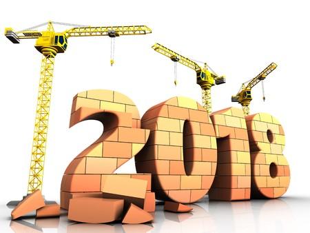 3d illustration of cranes building bricks 2018 year sign over white background Banco de Imagens