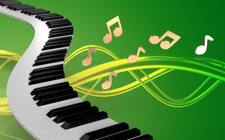 music 3d: 3d illustration of piano keys over green background with notes Stock Photo