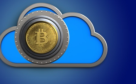 3d illustration of cloud with bitcoin safe over blue background Stock Photo