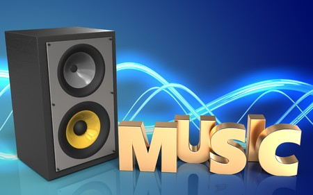 3d illustration of sound system over sound background with music sign