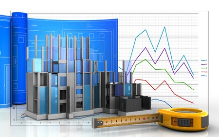 3d illustration of construction progress with drawing roll over business graph background