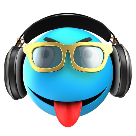 tease: 3d illustration of blue emoticon smile with black headphones over white background