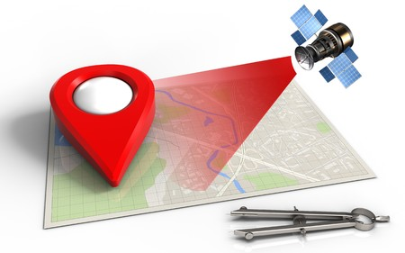 drawing pin: 3d illustration of bright map with point icon and satellite Stock Photo