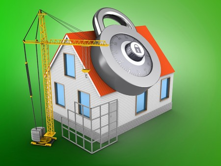3d illustration of house red roof over green background with code lock and construction site