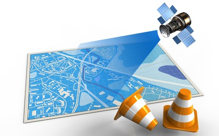 3d illustration of blue map with repair cones and satellite Stock Photo