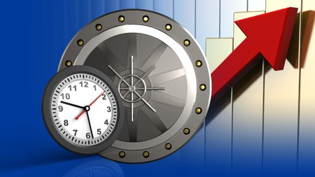 3d illustration of valut door over rising charts background with clock