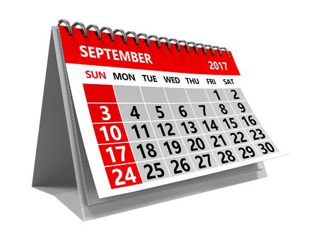 3d illustration of september 2017 calendar isolated over white background Stock Photo