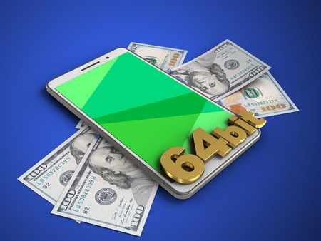 powerfull: 3d illustration of white phone over blue background with banknotes and 64 bit sign Stock Photo