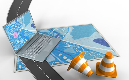 3d illustration of blue map with computer and repair cones Banco de Imagens