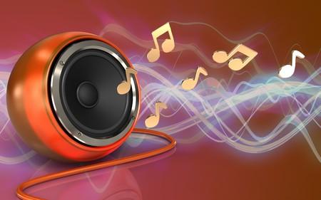 3d illustration of orange speaker over red sound wave background with notes