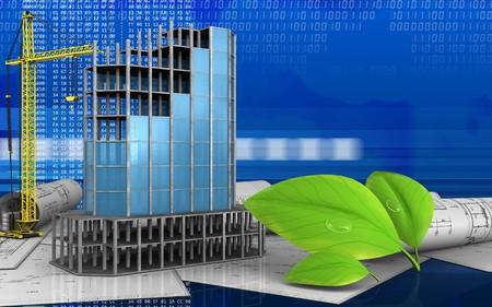refelction: 3d illustration of modern building frame with crane over digital background
