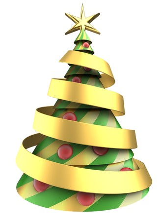 gloss: 3d illustration of abstract Christmas tree over white background with red balls