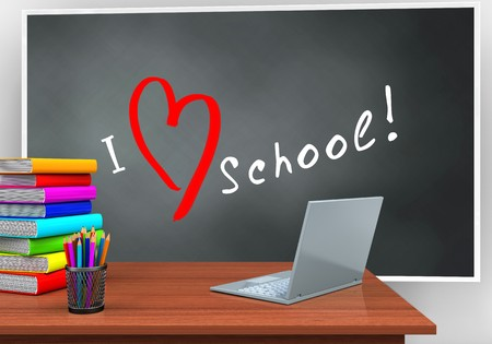 gloss: 3d illustration of blackboard with love school text and laptop computer