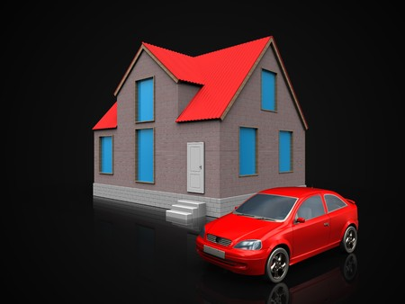 3d illustration of house with car over black background
