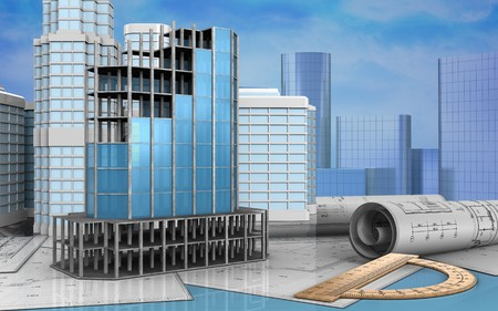 refelction: 3d illustration of modern building frame with urban scene over skyscrappers background Stock Photo