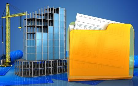 refelction: 3d illustration of modern building frame with crane over blue background