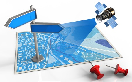 3d illustration of blue map with index and satellite Stock Photo
