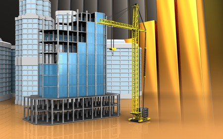 refelction: 3d illustration of modern building frame with urban scene over golden charts background