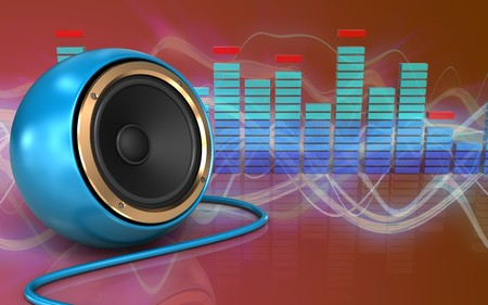 3d illustration of blue sound speaker over red sound wave background Stock Photo