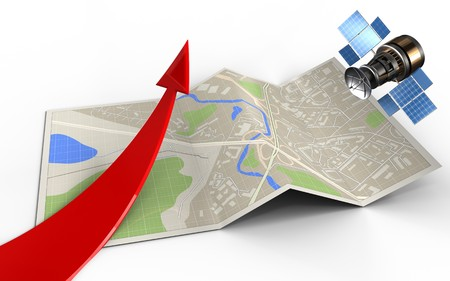 3d illustration of map paper with red arrow and gps satellite