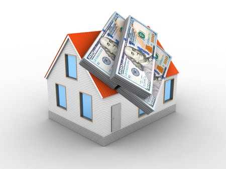 3d illustration of house red roof over white background with money Stok Fotoğraf - 85438072