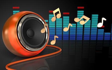 3d illustration of orange speaker over black background with notes Stock Photo