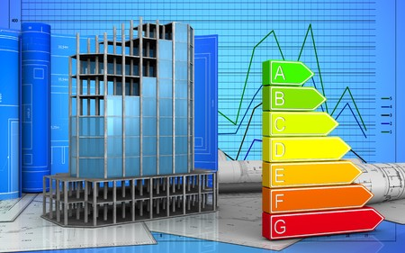 3d illustration of modern building frame with drawing roll over graph background Stock Photo