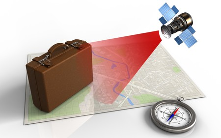 ray of light: 3d illustration of bright map with luggage and satellite