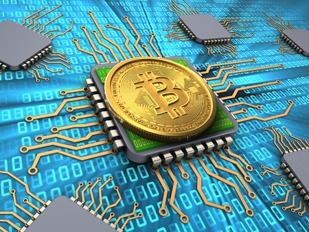 3d illustration of bitcoin over binary background with processors Stock Photo