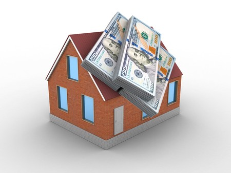 3d illustration of bricks house over white background with money Stock Photo