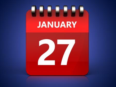 january 1st: 3d illustration of january 27 calendar over blue background