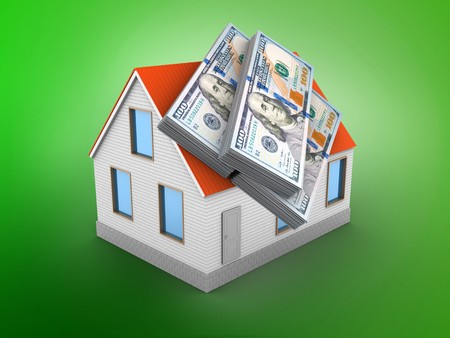 3d illustration of house red roof over green background with money