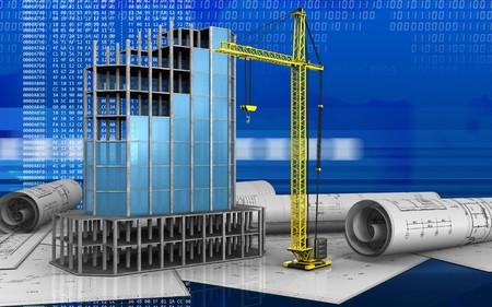 refelction: 3d illustration of modern building frame over digital background