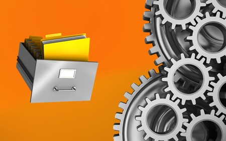 3d illustration of archive over orange background with mechanic