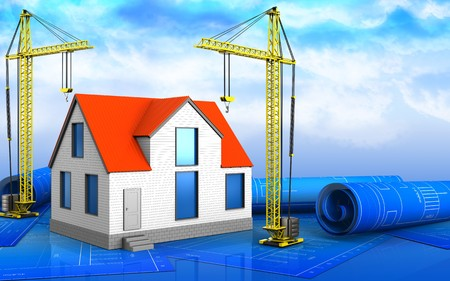 3d illustration of generic house with crane over sky background