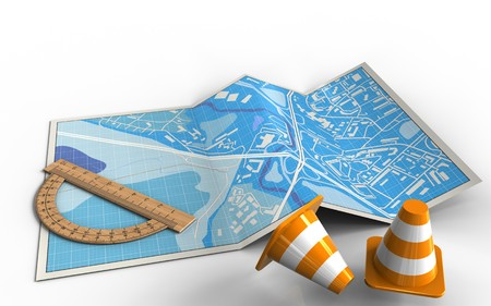 3d illustration of city map with protractor and Stock Photo