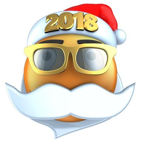rnb: 3d illustration of orange emoticon smile with 2018 Christmas hat over white background
