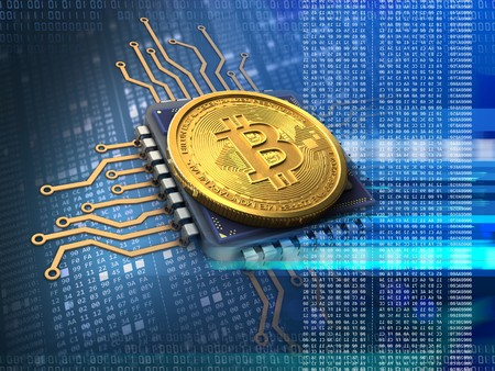 3d illustration of bitcoin over hexadecimal background with cpu blue