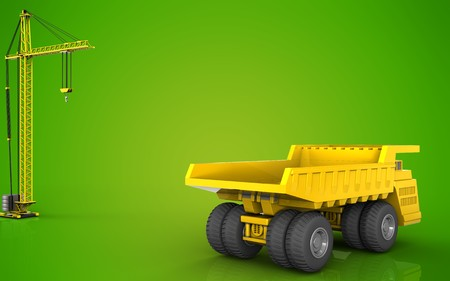 3d illustration of heavy truck with crane over green background