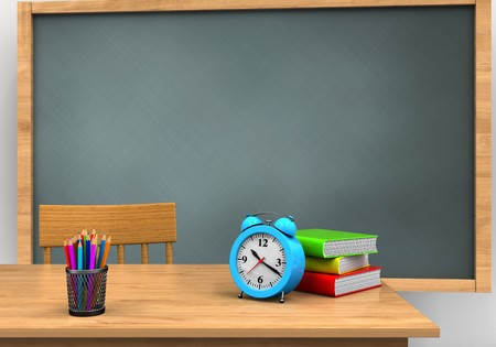 3d illustration of chalkboard with alarm clock and Stock Photo