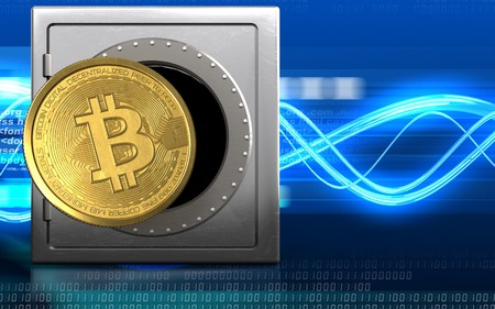 encoding: 3d illustration of metal safe with bitcoin over digital waves background Stock Photo